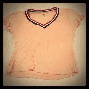V Neck Light Pink T-shirt